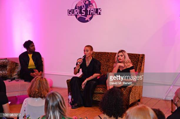 Clara Amfo Adwoa Aboah and Megan Barton Hanson attend Adwoa Aboah's Gurls Talk website launch party at Somerset House on October 12 2018 in London...