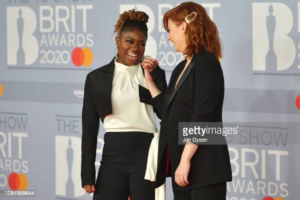 Clara Amfo and Alice Levine attend The BRIT Awards 2020 at The O2 Arena on February 18 2020 in London England