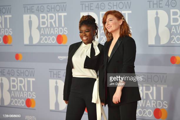 Clara Amfo and Alice Levine attend The BRIT Awards 2020 at The O2 Arena on February 18, 2020 in London, England.