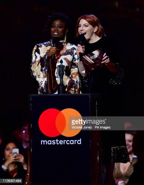 Clara Amfo and Alice Levine on stage at the Brit Awards 2019 at the O2 Arena London
