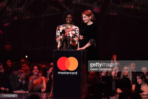 Clara Amfo and Alice Levine present Tom Walker with the Best British Breakthrough Award during The BRIT Awards 2019 held at The O2 Arena on February...