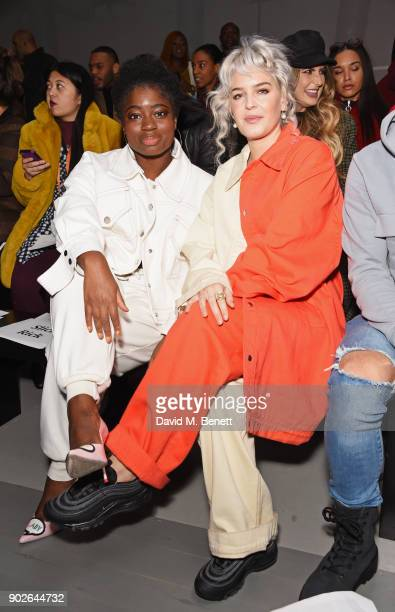 Clara Amfo and AnneMarie attend the Bobby Abley show during London Fashion Week Men's January 2018 at BFC Show Space on January 8 2018 in London...