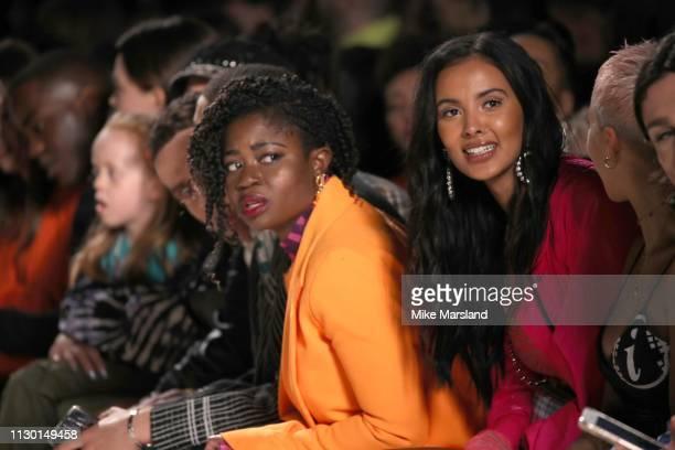 Clara Amfo and Maja Jama during London Fashion Week February 2019 on February 16 2019 in London England
