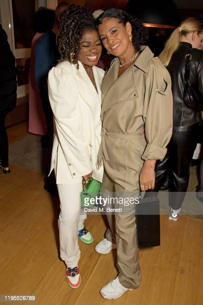 Clara Amfo and Neneh Cherry attend the Neneh Cherry and iD celebration of 30 years of 'Raw Like Sushi' at The London EDITION on January 23 2020 in...