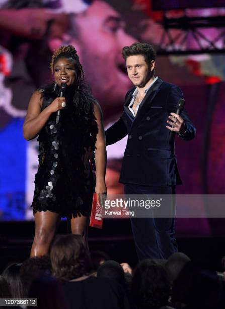 Clara Amfo and Niall Horan during The BRIT Awards 2020 at The O2 Arena on February 18 2020 in London England