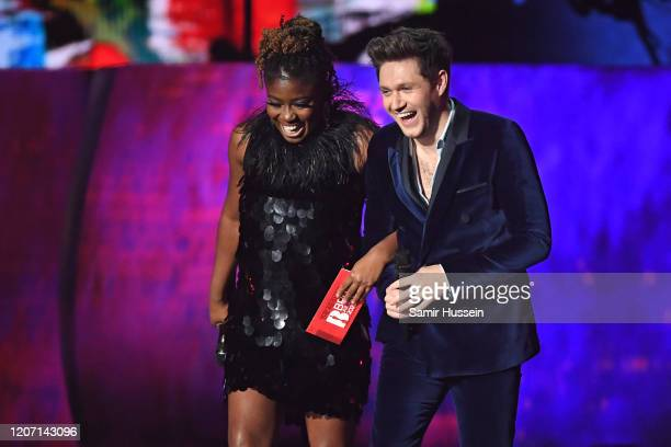 Clara Amfo and Niall Horan present Best New Artist awardduring The BRIT Awards 2020 at The O2 Arena on February 18 2020 in London England