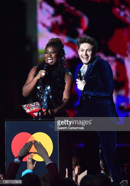 Clara Amfo and Niall Horan present the Best New Artist award during The BRIT Awards 2020 at The O2 Arena on February 18 2020 in London England