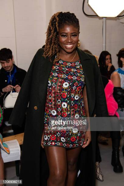 Clara Amfo attends the Ashish show during London Fashion Week February 2020 on February 17 2020 in London England