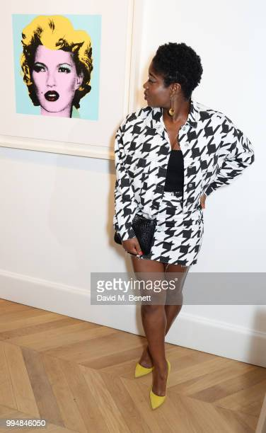 Clara Amfo attends the Bansky 'Greatest Hits 20022008' exhibition VIP preview at Lazinc on July 9 2018 in London England