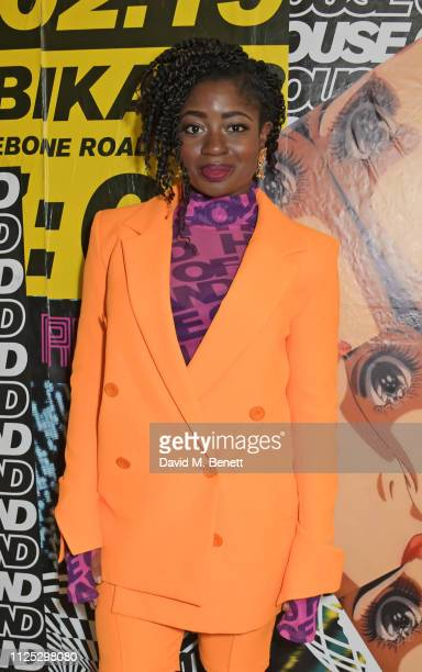 Clara Amfo attends the House of Holland AW19 London Fashion Week catwalk show showcasing the limitededition Vype ePen 3 / vaping pendant created by...