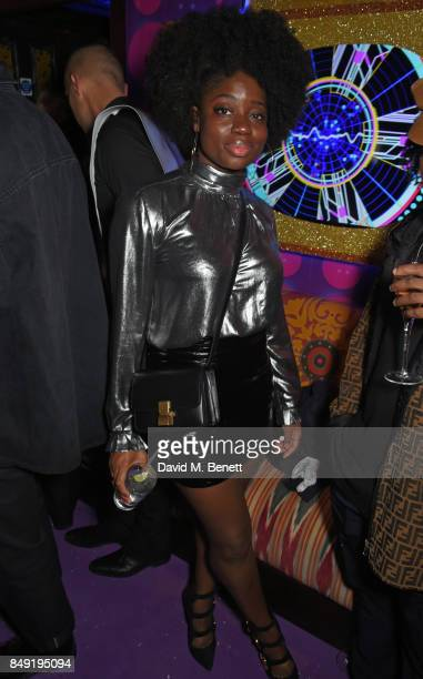 Clara Amfo attends the LOVE magazine x Miu Miu party held during London Fashion Week in association with Absolut Elyx at Loulou's on September 18...