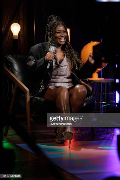 Clara Amfo is interwied in the media room during The BRIT Awards 2021 at The O2 Arena on May 11, 2021 in London, England.