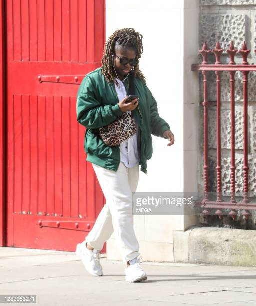 April 01: Clara Amfo is seen walking on April 01, 2021 in London, England.