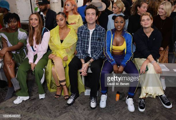 Clara Amfo Jade Thirlwall LeighAnne Pinnock Nick Grimshaw Nadia Rose and Pixie Geldof attend the House Of Holland front row during London Fashion...