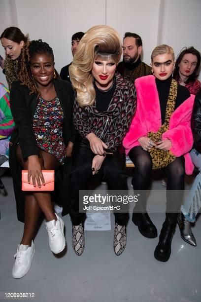 Clara Amfo Jodie Harsh and Sophia Hadjipanteli attend the Ashish show during London Fashion Week February 2020 on February 17 2020 in London England