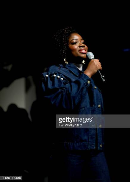 Clara Amfo presents the Fyodor Golan show during London Fashion Week Festival at the BFC Show Space on February 16 2019 in London England
