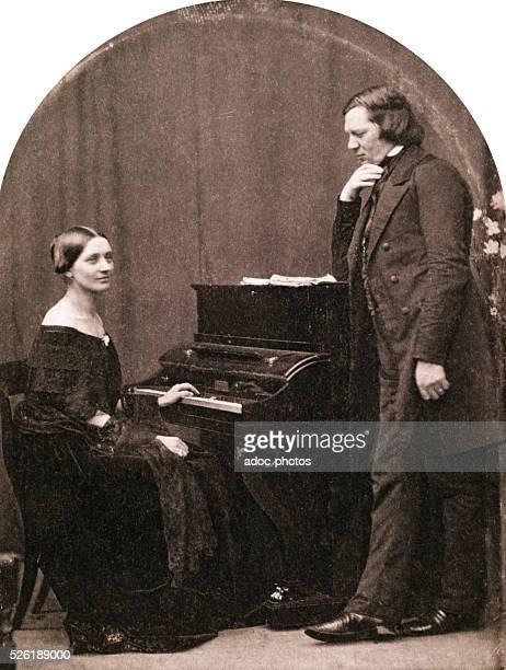Clara and Robert Schumann , German composers. After a daguerreotype. Ca. 1850.