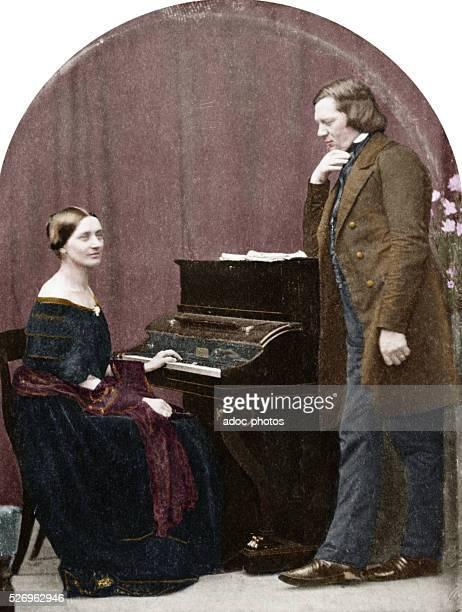 Clara and Robert Schumann , German composers. After a daguerreotype. Ca. 1850. Coloured photograph.