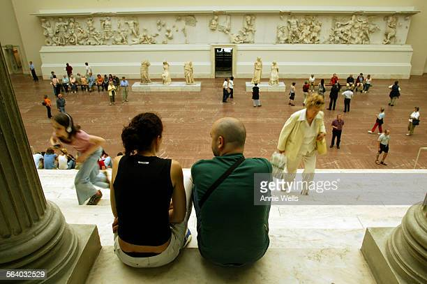 GERMANY – Clara Arriezu and Juan Etayo 32 of Pamplona Spain take in The Pergamon Altar It is a 371 foot–long frieze which was built between 197 and...