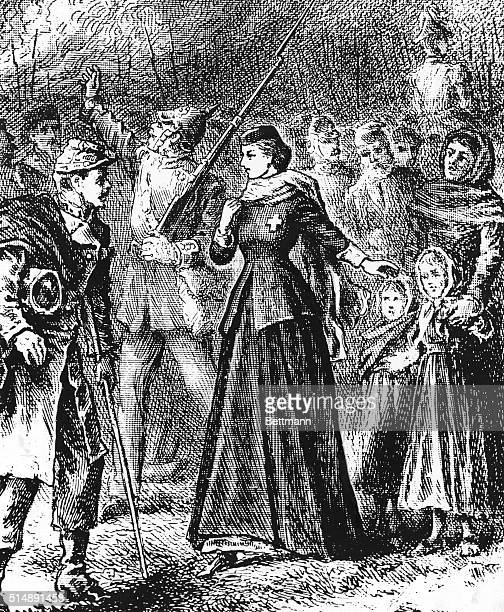 Clara Barton founder of the Red Cross entering Strasbourg with the German Army