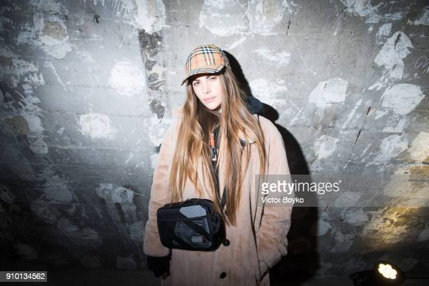 Clara Berry attends the Here We Are Burberry Exhibition as part of Paris Fashion Week on January 24 2018 in Paris France