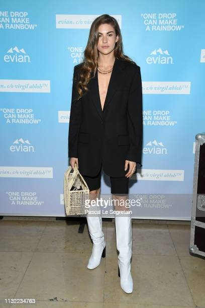 """Clara Berry attends the launch of Evian and Virgil Abloh's limitededition """"One Drop can make a Rainbow"""" collection at Théâtre National de Chaillot..."""
