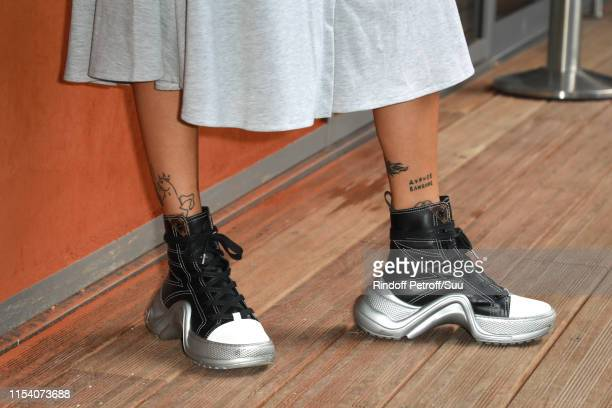 Clara Berry shoes and tatoos details attends the 2019 French Tennis Open Day Twelve at Roland Garros on June 06 2019 in Paris France