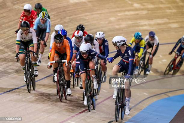 Clara Copponi and Marie Le Ne of France compete during Women's Madison during day 4 of the UCI Track Cycling World Championships Berlin at Velodrom...