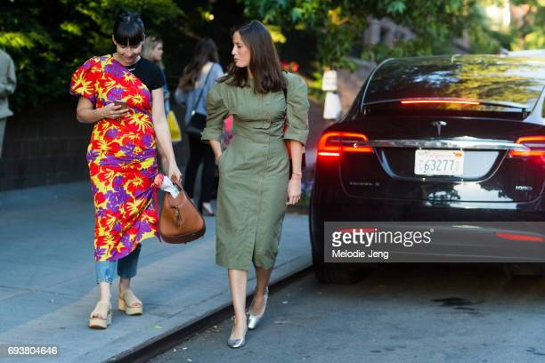 Clara Cornet and Astrid Boutrot of The Webster outside the Stella McCartney Spring 18 presentation on June 8 2017 in New York City Clara wears a...