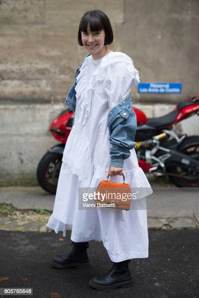 Clara Cornet poses before the Rodarte show at the Cloitre Port Royal during Paris Fashion Week Haute Couture FW17/18 on July 2 2017 in Paris France