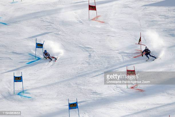 Clara Direz of France in action, Marta Bassino of Italy takes 3rd place during the Audi FIS Alpine Ski World Cup Women's Parallel Slalom on January...