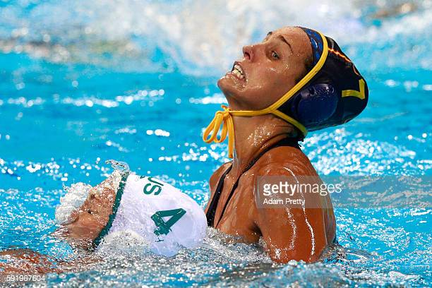Clara Espar Llaquet of Spain and Holly LincolnSmith of Australia compete during the Women's Water Polo 5th 6th Classification match between Australia...