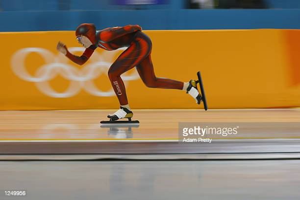 Clara Hughes of Canada competes in the women's 5000m speed skating event during the Salt Lake City Winter Olympic Games on February 23 2002 at the...
