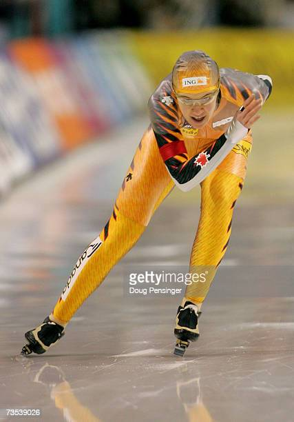 Clara Hughes of Canada skates to 13th place in the Ladies 3000m at the 2007 ISU World Single Distances Speed Skating Championships on March 9 2007 at...