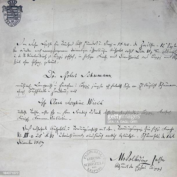 Clara Josephine Wieck and Robert Schumann's , marriage certificate, September 13, 1840. Zwickau, Robert-Schumann-Haus