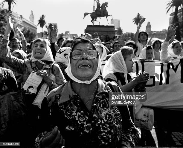 Clara Jurado and other Madres de Plaza de Mayo claim for their missing sons and daughters in front of the government house circa 1982 According to...