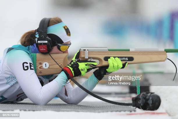 Clara Klug of Germany shoots during her run in Women's 125km Visually Impaired in Biathlon during day seven of the PyeongChang 2018 Paralympic Games...