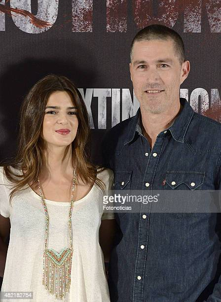 Clara Lago and Matthew Fox attend a photocall for Extinction at the NH Collection Eurobuilding Hotel on July 28 2015 in Madrid Spain