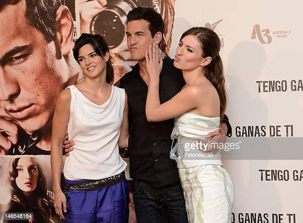 Clara Lago Mario Casas and Maria Valverde attend a photocall for 'Tengo ganas de Ti' at ME Hotel on June 19 2012 in Madrid Spain