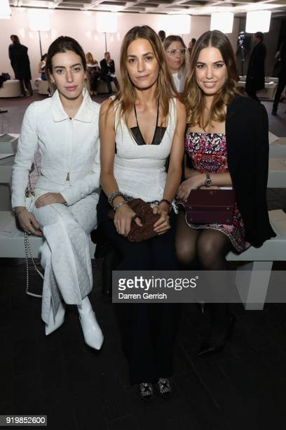 Clara Mcgregor Amber Le Bon and Yasmin Le Bon attend the Roland Mouret show during London Fashion Week February 2018 at The National Theatre on...