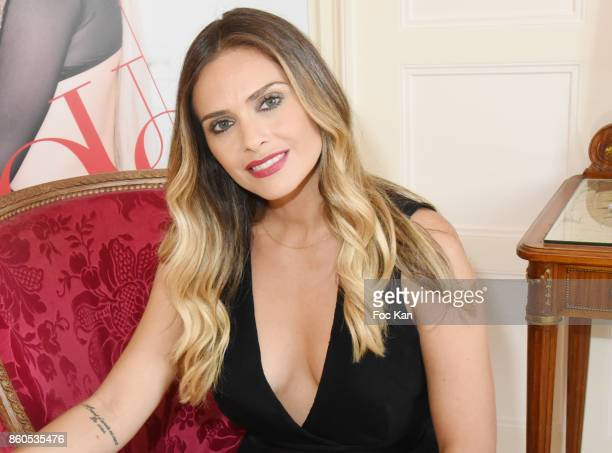 Clara Morgane poses during the Clara Morgane 2018 Calendar Launch Party at Hotel Raphael on October 12 2017 in Paris France