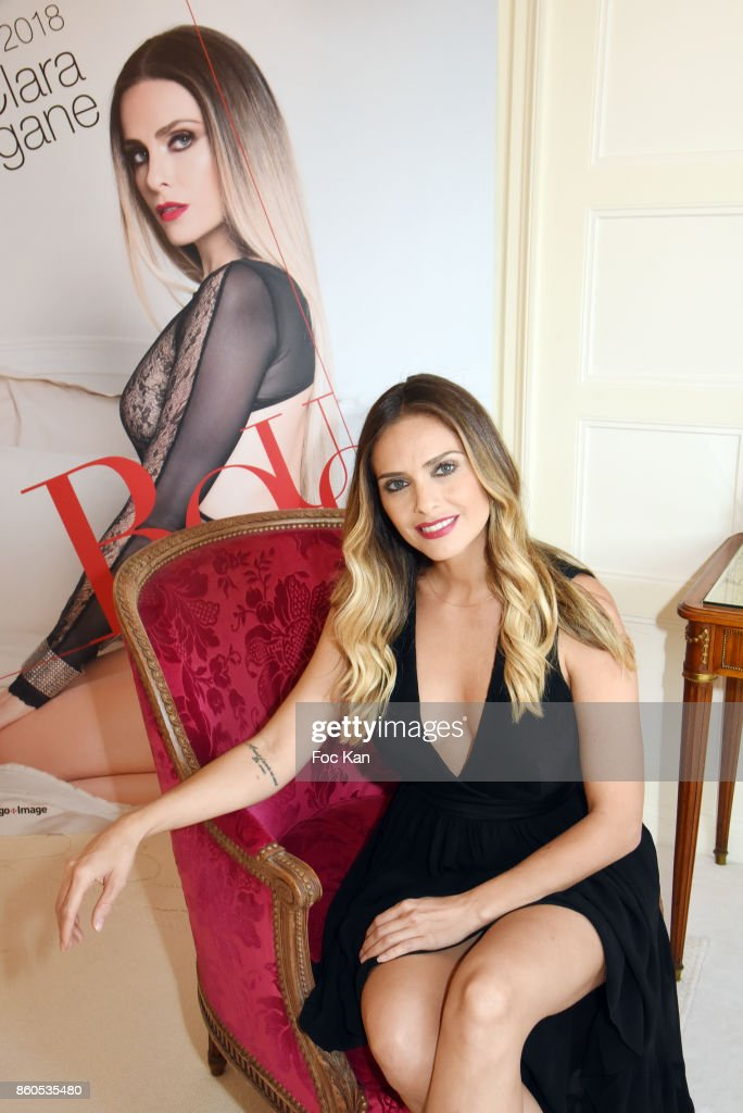 Clara Morgane poses during the Clara Morgane 2018 Calendar Launch Party at Hotel Raphael on October 12, 2017 in Paris, France.