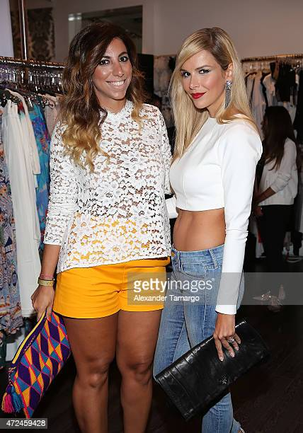 Clara Pablo and Agueda Lopez pose at Studio LX during the clothing launch of Chiquinquira Delgado in collaboration with David Lerner on May 7 2015 in...