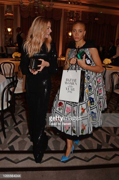 Clara Paget and Adwoa Aboah attend the Harper's Bazaar Women Of The Year Awards 2018 in partnership with Michael Kors and MercedesBenz at Claridge's...