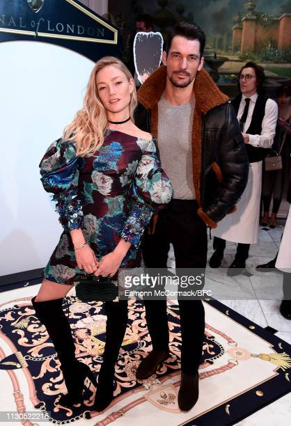 Clara Paget and David Gandy attend the Aspinal of London AW19 presentation during London Fashion Week February 2019 at the Aspinal Of London on...