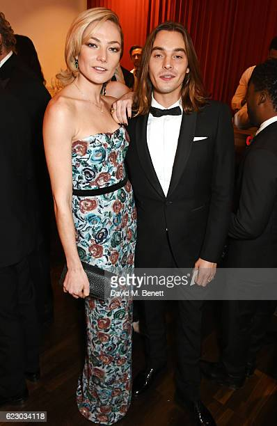 Clara Paget and Oscar Tuttiett attend a cocktail reception at The 62nd London Evening Standard Theatre Awards recognising excellence from across the...
