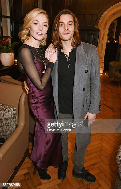 Clara Paget and Oscar Tuttiett attend the launch of new luxury hotel The LaLit London on January 26 2017 in London England