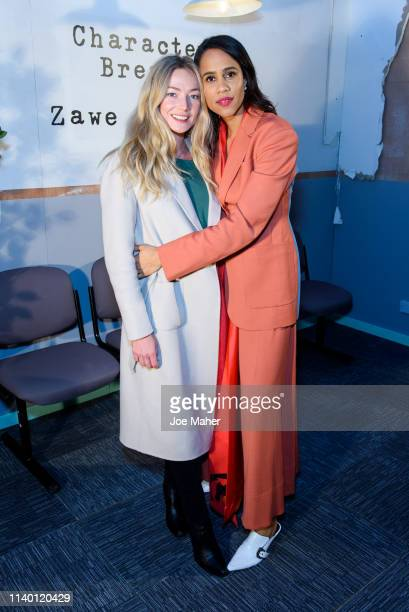 Clara Paget and Zawe Ashton at the Character Breakdown by Zawe Ashton book launch at Wild By Tart on April 03 2019 in London England