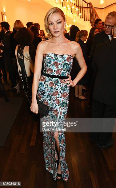 Clara Paget attends a cocktail reception at The 62nd London Evening Standard Theatre Awards recognising excellence from across the world of theatre...