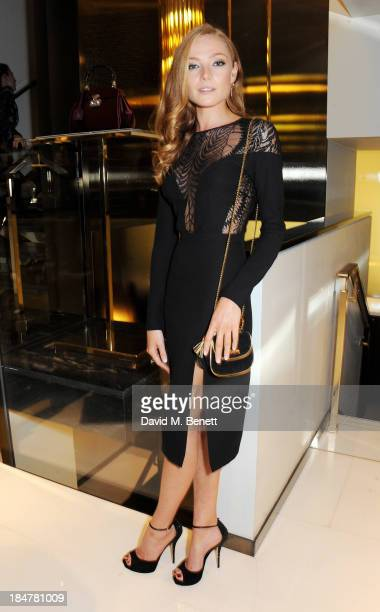 Clara Paget attends a private cocktail which she hosted with Gucci to celebrate 'I Bamboo You' at Gucci's Old Bond Street store on October 16 2013 in...